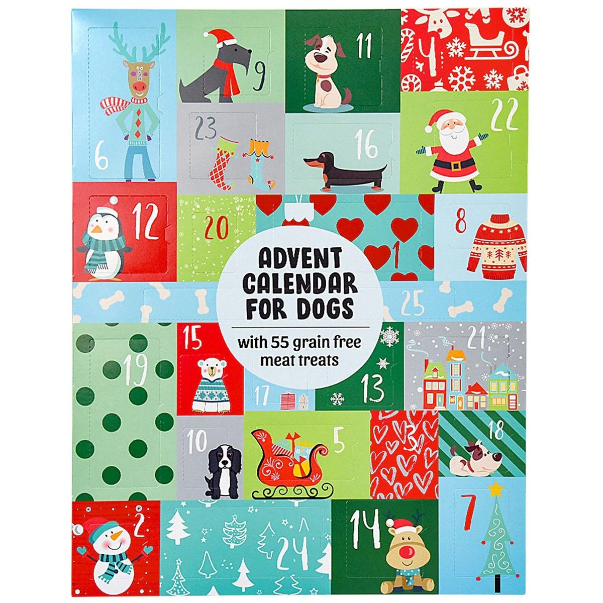Advent Calendar for Dogs with 55 Grain-Free Meat Treats