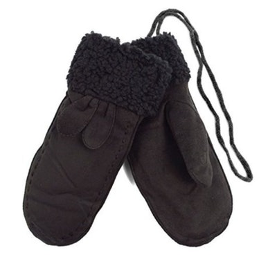 Ladies' Winter Vegan Suede Mittens with Faux Fur Lining