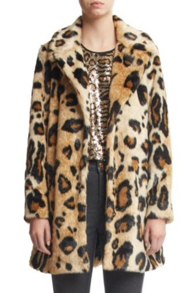 Scoop Vegan Fur Leopard Printed Coat