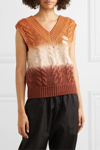 Appliquéd Ombré Cable-Knit Wool and Cashmere-Blend Vest