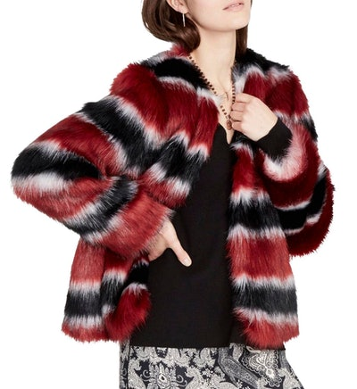 Rachel Roy Womens Faux Fur Striped Jacket