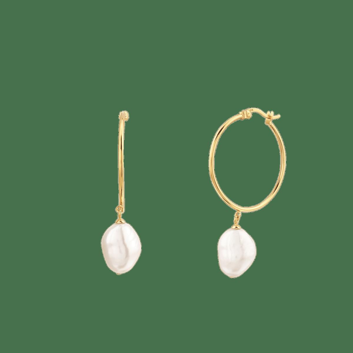 Organic Pearl Large Hoops