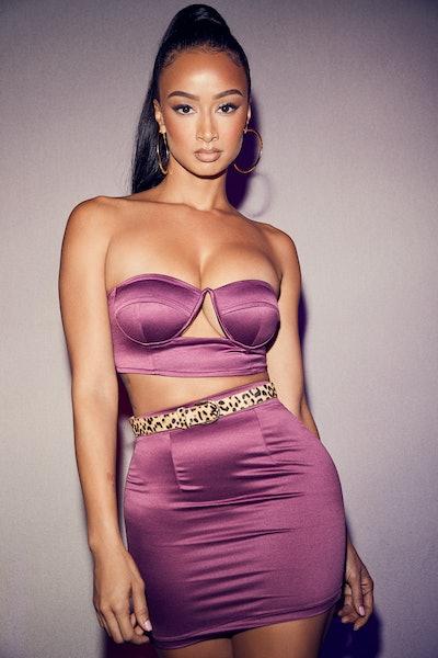 superdown x Draya Skirt Set  Kiara Bustier Skirt Set in Dark Mauve