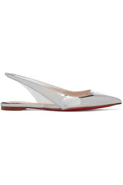 V Dec PVC and Metallic Leather Slingback Point-Toe Flats