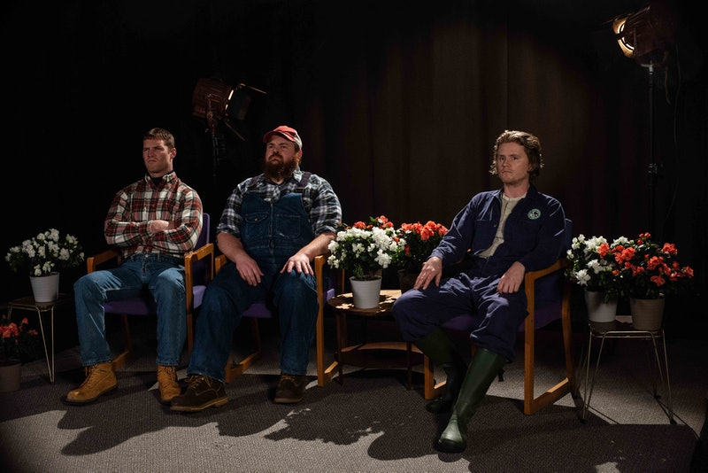 Wayne (Jared Kesso), Dan (K. Trevor Wilson), and Daryl (Nathan Dales) start an agricultural call-in show on 'Letterkenny.'