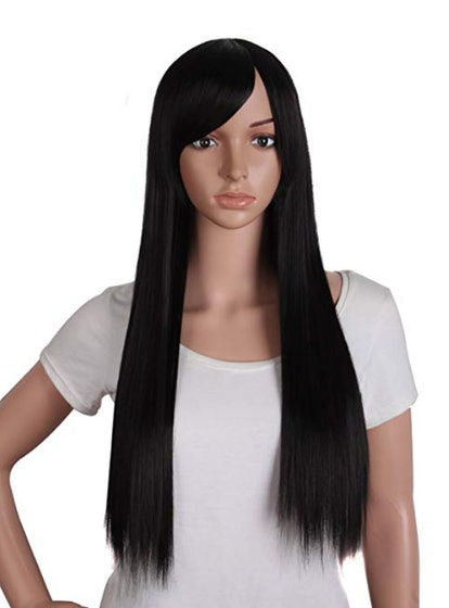 MapofBeauty Oblique Bangs Long Straight Wig