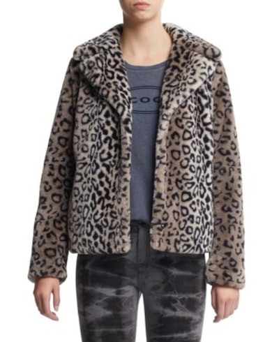 Scoop Faux Fur Leopard Print Jacket