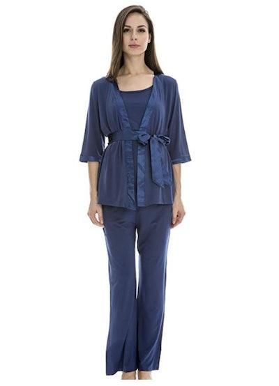 Bearsland Maternity Women's 3-Piece Soft Nursing Pajamas Set