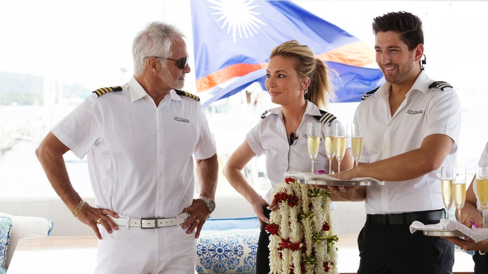 Captain Lee, Kate Chastain, and another stew member from Below Deck.