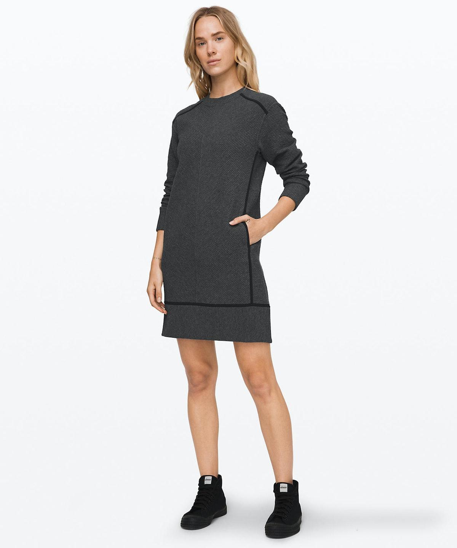 "On Repeat Dress in ""Heathered Core Dark Grey/Black"""