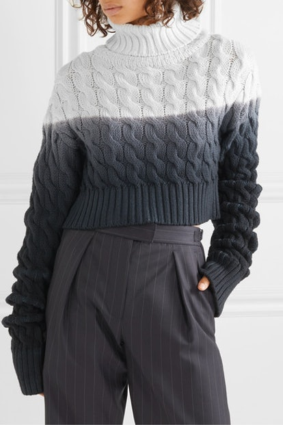 Ombré Cable-Knit Wool Turtleneck Sweater