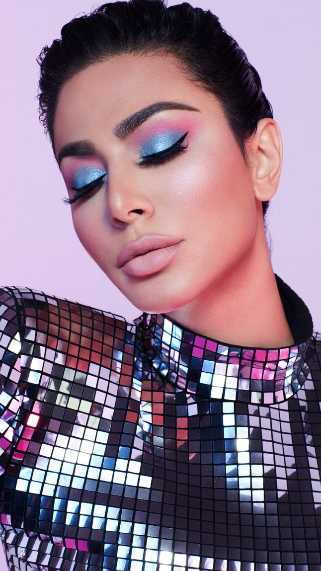Huda Beauty's Mercury Retrograde palette features purple, pink, and blue tones.