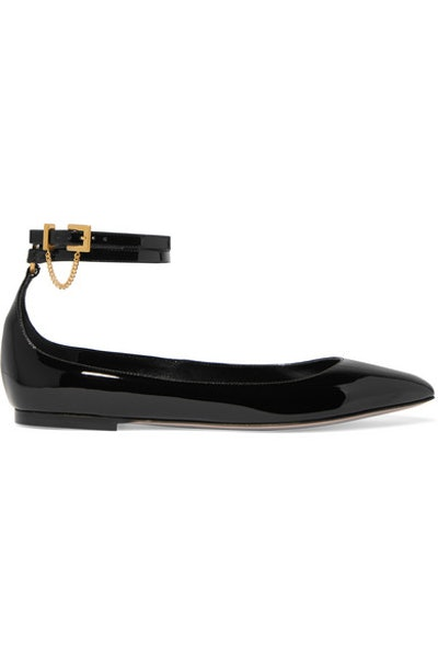 Tiny Chain Patent-Leather Point-Toe Flats