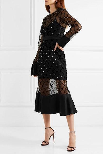 Satin-Trimmed Crystal-Embellished Flocked Tulle Midi Dress