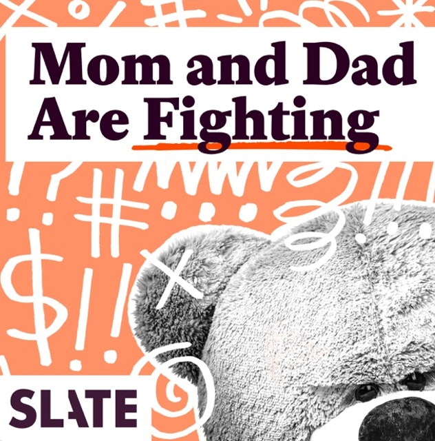 """The words """"Mom and Dad Are Fighting"""" sit on a graphic with a teddy bear and drawn expletive symbols."""