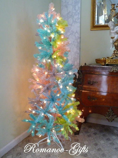 UNICORN Rainbow PASTEL Princess Slim Pencil Pre-Lit Christmas Tree 5 ft by 24""