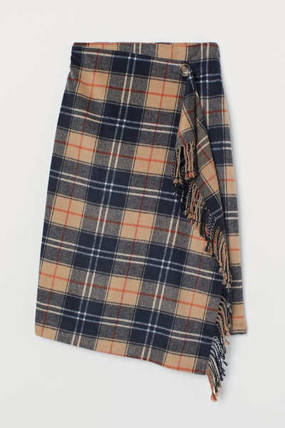 Wrapover Skirt with Fringe