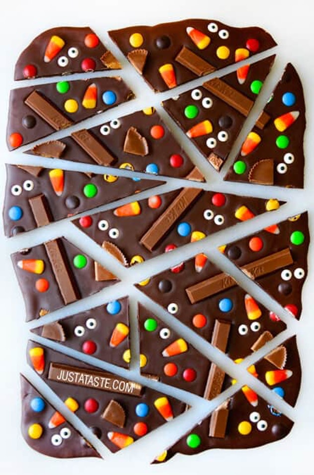 This Halloween chocolate candy bark can be made with the holiday candy of your choice.