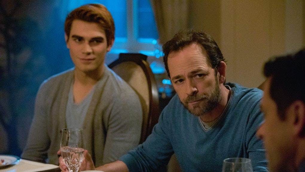 Archie and Fred Andrews staring at Hiram Lodge on 'Riverdale'