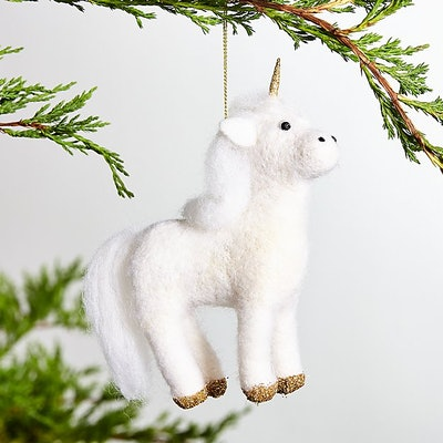 Boiled Wool Unicorn Ornament