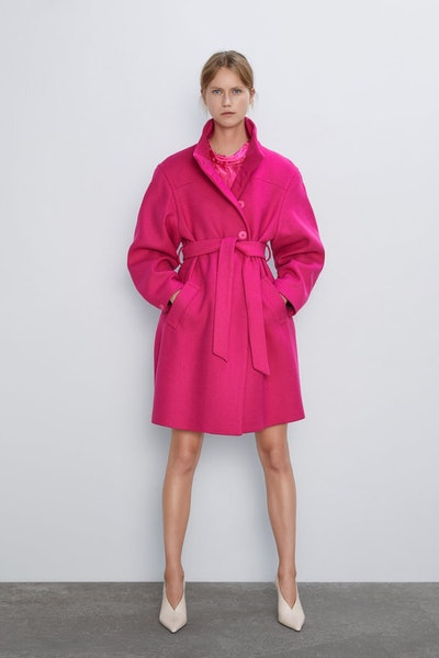 Belted Coat With High Collar