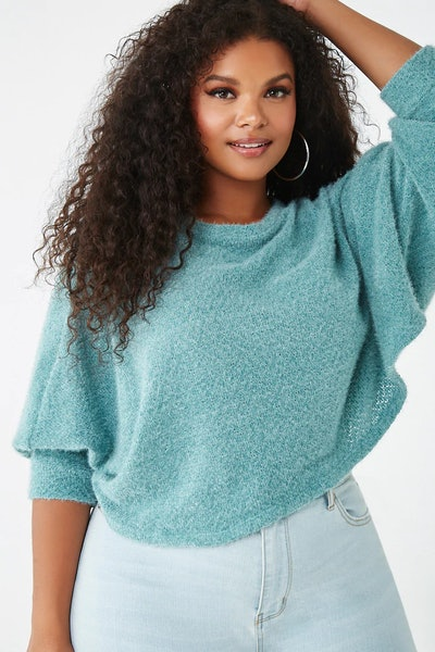 Plus Size Fuzzy Cropped Sweater