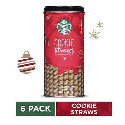 Starbucks Holiday Cookie Straws, 6 Tins of 20