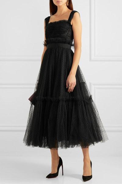 Appliquéd Ruffled Tulle Gown