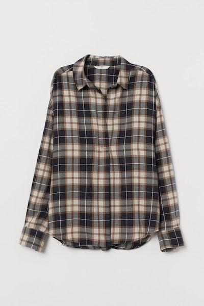 Wide-Cut Cotton Flannel Blouse