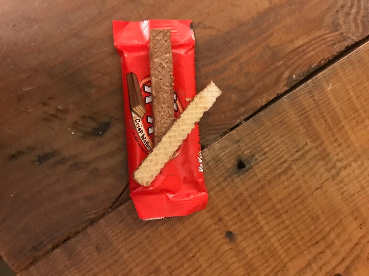 Kit-Kat wafer broken apart