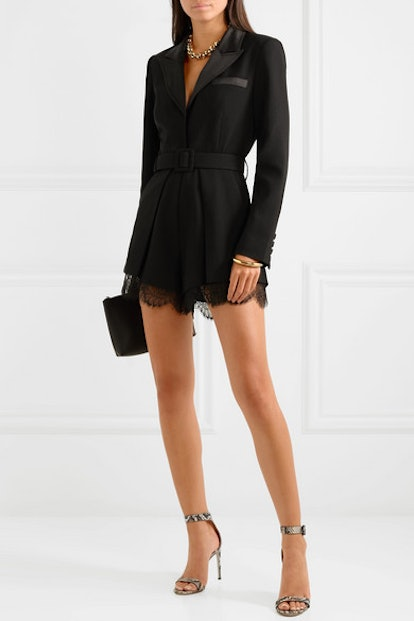 Lace and Satin-Trimmed Crepe Playsuit