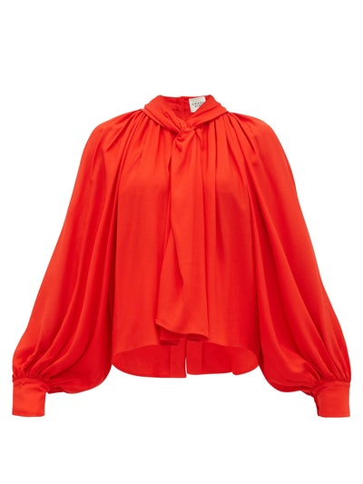 Twist Front Gathered Crepe Blouse