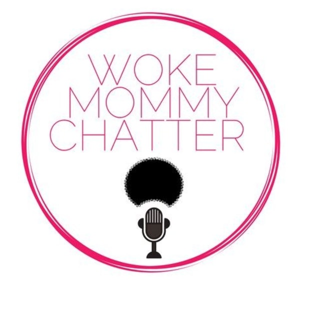 A circle with a microphone in the middle surrounded by the title Woke Mommy Chatter
