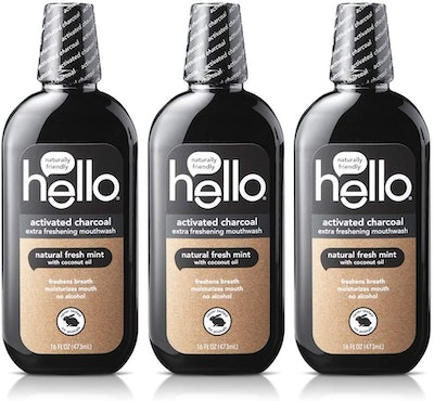 Hello Oral Care Activated Charcoal Mouthwash (3-Pack)