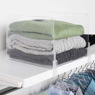 Richards Homewares Acrylic Closet Shelf Divider (6-Pack)