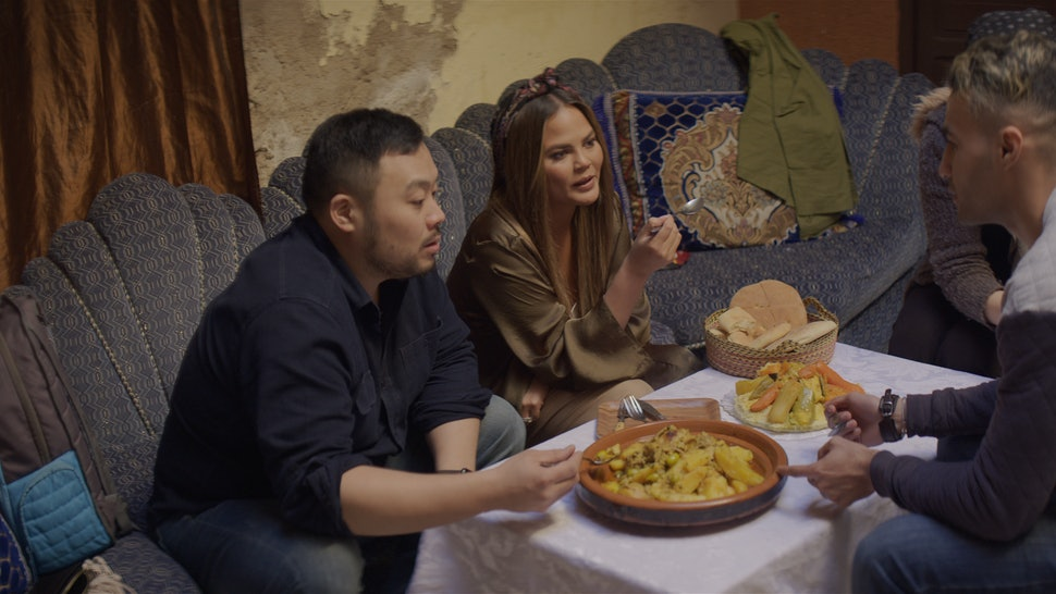 Breakfast, Lunch, & Dinner - Season 1 David Chang and Chrissy Teigen are invited to dine with local chef Tarik Amar and his wife Hajar Demlak to experience authentic Marrakesh cooking