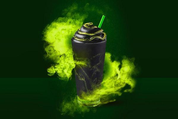 Starbucks' Halloween 2019 Phantom Frappuccino comes with green slime.