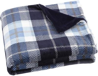 EverGrace Fleece Plaid Flannel Throw Blanket