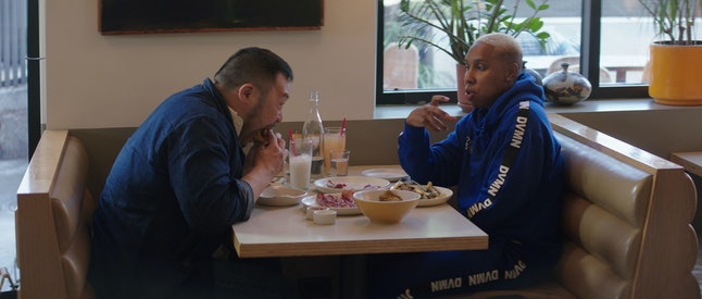 David Chang and Lena Waithe at Winsome, an Echo Park cafe, in 'Breakfast, Lunch & Dinner'