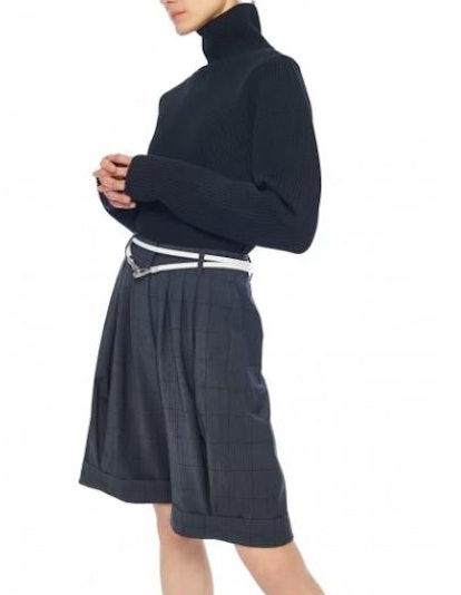 Menswear Windowpane Pleated Short