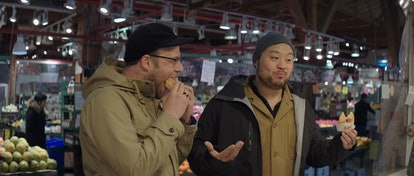 David Chang and Seth Rogen eating Lee's Donuts on 'Breakfast, Lunch, & Dinner'