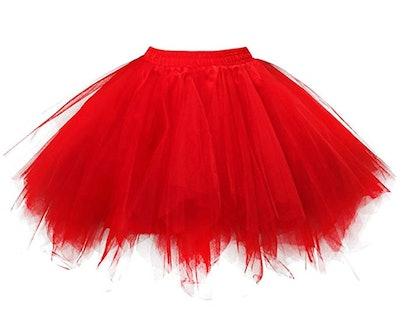 OBBUE Women's Short Vintage Petticoat Skirt Ballet Bubble Tutu
