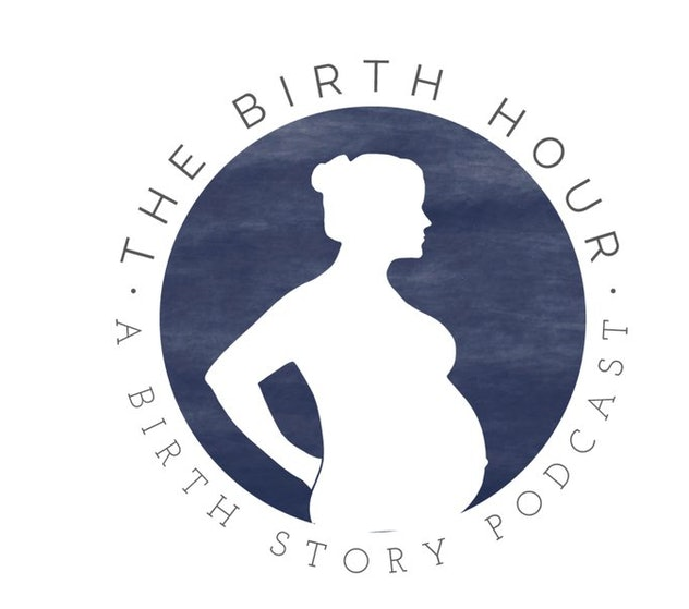 """A graphic of pregnant person circled by the words """"The Birth Hour: A Birth Story Podcast"""""""