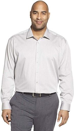 Calvin Klein Men's Big and Tall Herringbone Dress Shirt