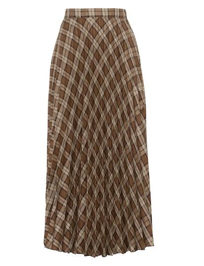 Brown Plaid Pleated Skirt