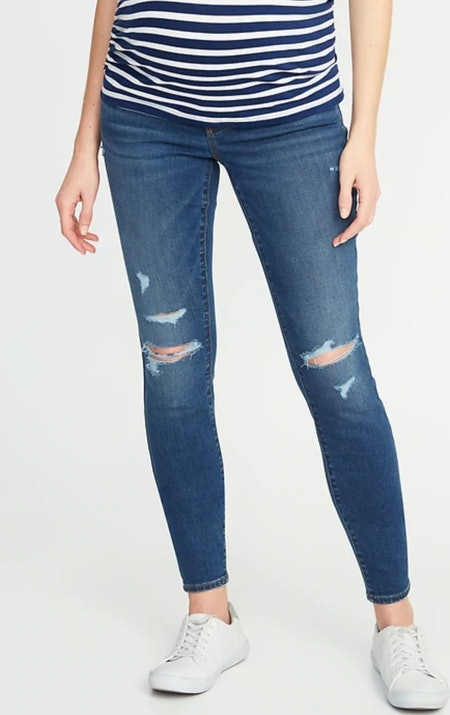Old Navy Maternity Front-Low Panel Distressed Skinny Jeans