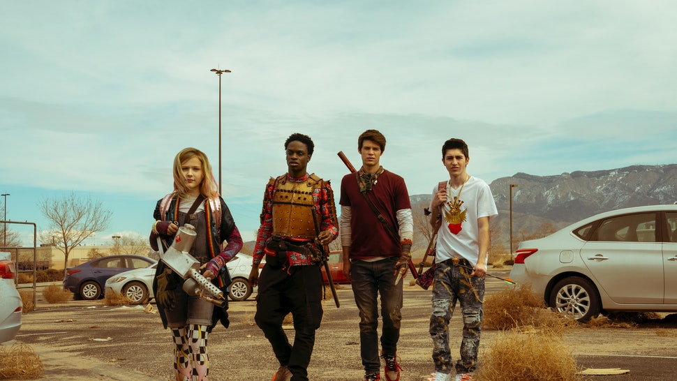 Alyvia Alyn Lind as Angelica, Austin Crute as Wesley Fists, and Colin Ford as Josh Wheeler in Netflix's new show, 'Daybreak'