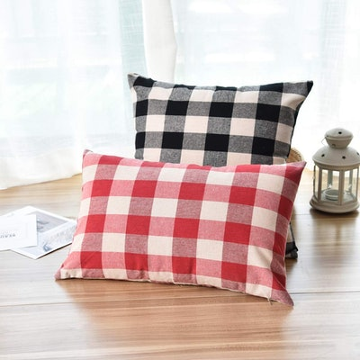 WFLOSUNVE Beige and Red Buffalo Plaid Pillow