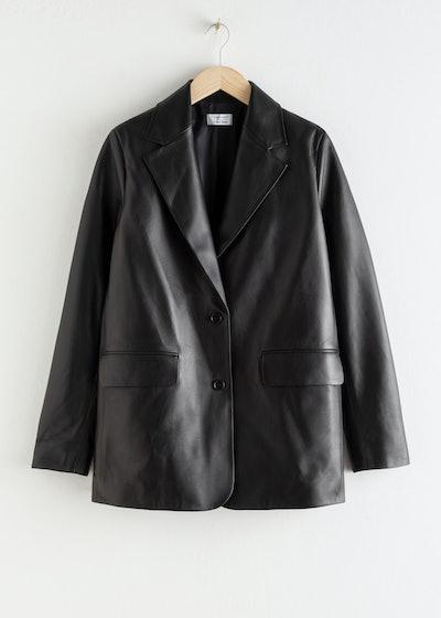Oversized Leather Blazer