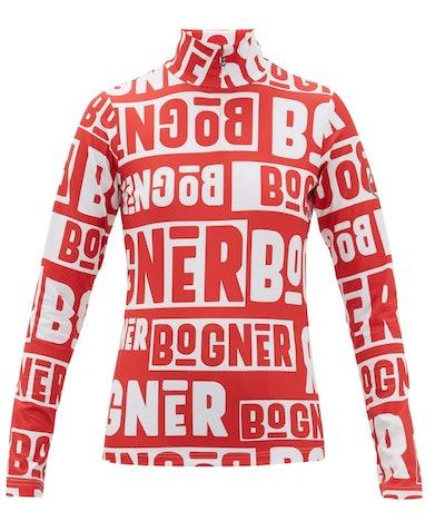 Bogner Beline Logo Print Quarter-Zip Thermal Top
